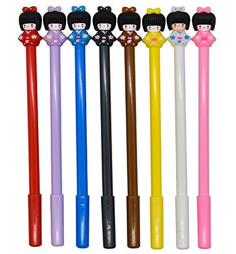 Maydahui 可愛い 着物 女子 ボールペン ジェルボールペン 0.5mm 黒インク 8本セット 人形 キャラクターボールペン レディース ドールペン 細軸 おしゃれ かわいい 文房具 筆記用ボールペン 子供用 入学 お祝い 女性 オフィス 漫画 学生