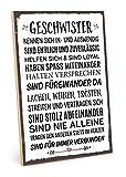TypeStoff Holzschild mit Spruch – Geschwister – im Vintage-Look mit Zitat als Geschenk und Dekoration zum Thema Bruder und Schwester (19,5 x 28,2 cm)