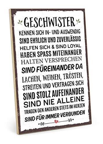TypeStoff Holzschild mit Spruch – Geschwister – im Vintage-Erscheinungsbild mit Zitat als Geschenk & Dekoration zum Thema Bruder & Schwester (19,5 x 28,2 cm)