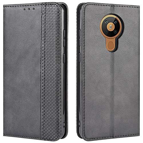 HualuBro Handyhülle für Nokia 5.3 Hülle, Retro Leder Stoßfest Klapphülle Schutzhülle Handytasche LederHülle Flip Hülle Cover für Nokia 5.3 Tasche, Schwarz