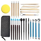 YOOSHERRY Polymer Clay Tools, 25 Pcs Clay Sculpting Tools, Ball Stylus Dotting Tools, Modeling Clay Tools Set, Ceramic Tools, Pottery Carving Tool with a Storage Bag for Engraving, Embossing, Shaping