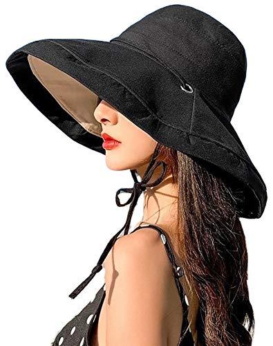 Women's Sun Hat Packable Reversible Bucket Hat UV Sun Protection Wide Brim Summer Beach Cap (Black)