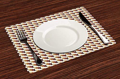 Lot de 4 Sets de Table,Formes géométriques abstraites et abstraites avec palette de couleurs vives Art,Lavable Napperons pour Cuisine ou pour Table à Manger Résiste à la Chaleur Antidérapant (30x45cm)