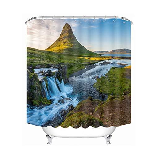 Jerinumkoy 3D Island City Wilder Holiday Resort Duschvorh?nge Wasserdicht verdickte Badewanne Vorhang f¨¹r Badezimmer Color B W180 x H180cm