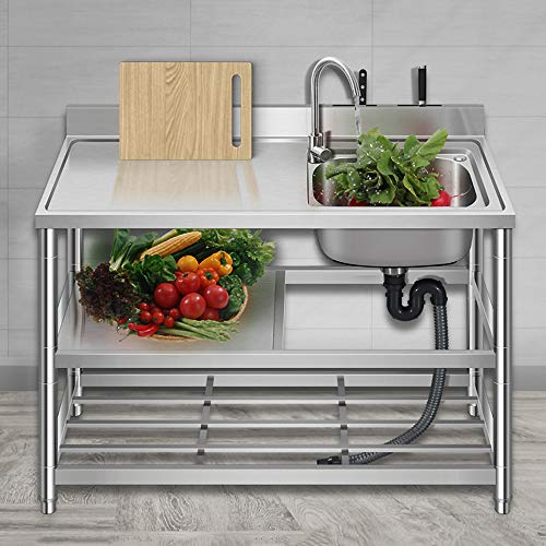 KITCHEN SINK Catering Sink Stainless Steel Free Standing Utility with Brackets Multifunction Removable 3-Layer Storage Shelf for Laundry Backyard Garage