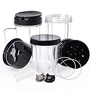 QueenTrade Magic Bullet Replacement Cups, Replacement Cups & Cross Blade & Lids & Gear & Gaskets & Shock Pads 18pcs/Set… |