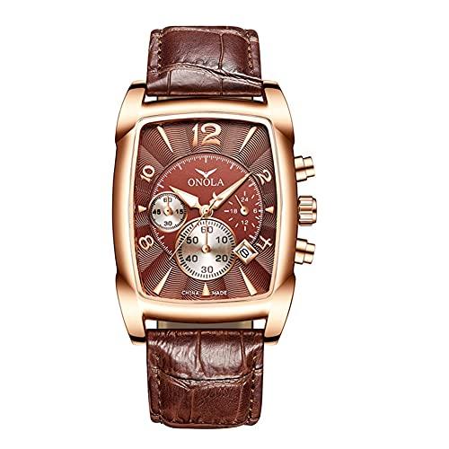XIAN Reloj para Hombre de Negocios de Moda Relojes de Cuarzo de Acero Inoxidable Reloj de Correa Impermeable de Cuero Forma Tonneau,D