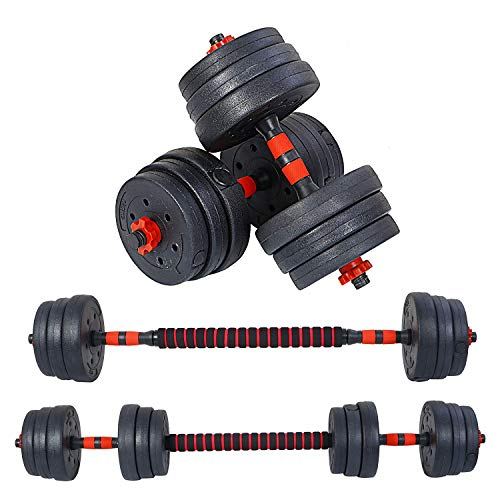 FITSY® Adjustable Dumbbell Set - 20 kg PVC Dumbbell and Rod Set for Home Gym Workout with Extension Barbell Rod [AR-2693]