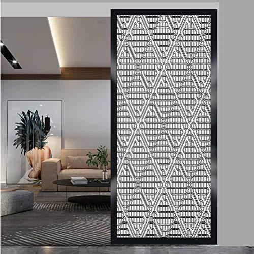W 23.6' x L 78.7' Frosted Glass Film UV Glass Film Window Home Office Living Room,Celtic,Medieval Irish Striped Binding Square Shaped Patterns Old-Fashion Dated Artsy Print,Black White