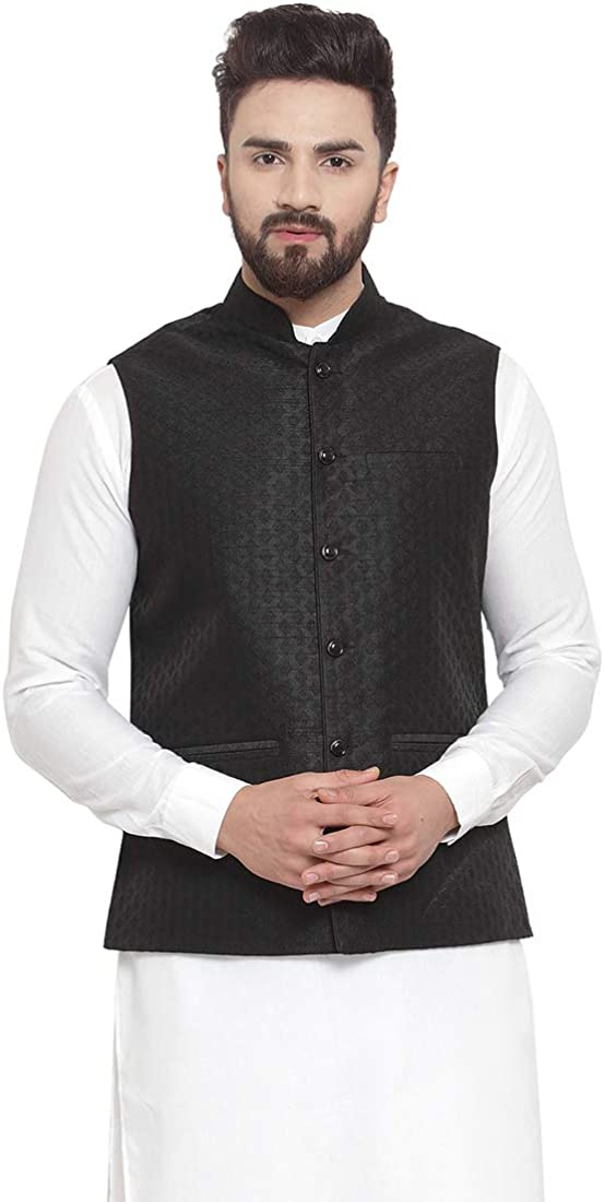 Traditional Men Black Brocade Nehru Jacket With Golden Work by Yard Of Deals (2XL) (XL)