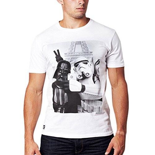 Star Wars - T-shirt Empire Selfie con Darth Vader e lo Stormtrooper - Maglietta di ottima qualità di marca chunk - Bianco crema - M
