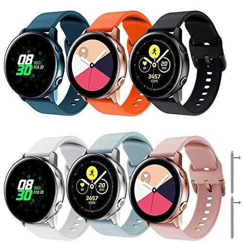 TOPsic Cinturino Galaxy Watch Active 2 40mm 44mm/Active/Galaxy Watch 42mm/Gear S2 Classic/Gear Sport/Vivomove/HR/Vivoactive 3/Forerunner 245/645, 20mm Cinturino di Ricambio Silicone Braccialetto