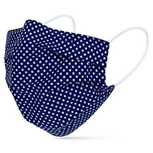 tanzmuster ® Gesichtsmaske für Erwachsene - Stoffmaske mit Nasenbügel und Filtertasche - Alltagsmaske waschbar - 100% Baumwolle OEKO-TEX Standard 100. Hauchdünn - Dunkelblau-Weiß-gepunktet M/L
