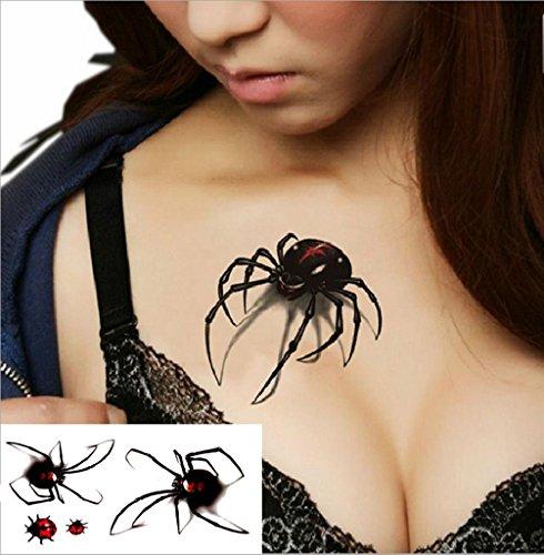 GYMNLJY Etiquetas engomadas del tatuaje Moda sexy 3D araña cuerpo ...