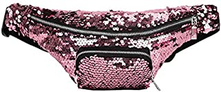 yisi Sequin Glitter Fanny Pack for Women Girls Fashion Mermaid Waist Pack Reversible Sequin Waist Pack Belt Bags for Party,Festival,Outdoor Travel (Pink)