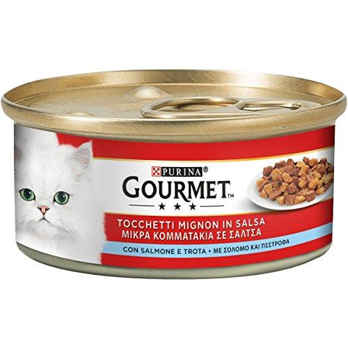 Gourmet Rouge tocchetti Mignon pour Le Chat, avec Saumon et Truite, 195 g – Lot de 24 pièces