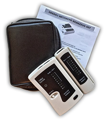 odedo® Kabeltester RJ45 / RJ11 mit Remote-Einheit, Netzwerktester, Leitungstester LAN ISDN DSL CAT 5/6 / 7 Patchkabel, Ethernet Network Cable Tester