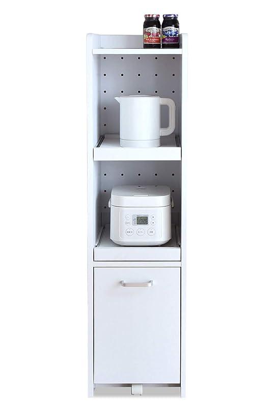 JKプランすきま 隙間収納 キッチン ミニ 食器棚 キッチン家電収納 家電ラック 家電収納棚 コンパクト 収納 スリム ラック 棚 幅 30 高さ 120 ホワイト 白 TSFKC0531WH