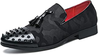 CHENDX Shoes Men's Upscale Fashion Punk Oxford Business Formal Selected Material Slip on Shoes Fabric Microfiber Leather Captoe Decor with Rivets (Color : Black, Size : 44 EU)