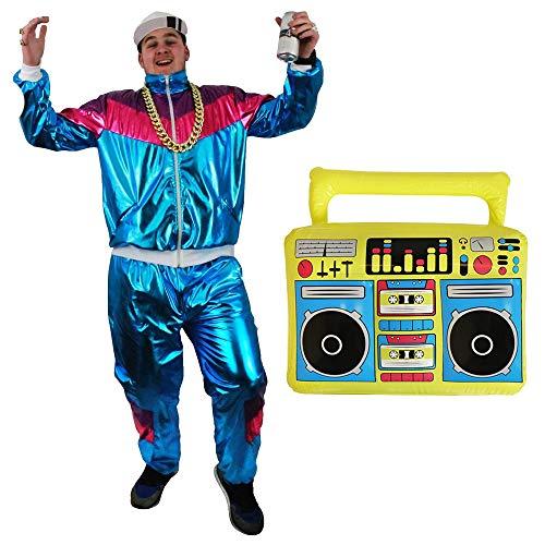 80er / 90er Trilobalanzug Asi Kostüm mit Ghettoblaster - Blau glänzende Jacke mit Reißverschluss + passende Hose mit Taschen Trainingsanzug + Aufblasbare 80er Jahre Boombox (Mittel)