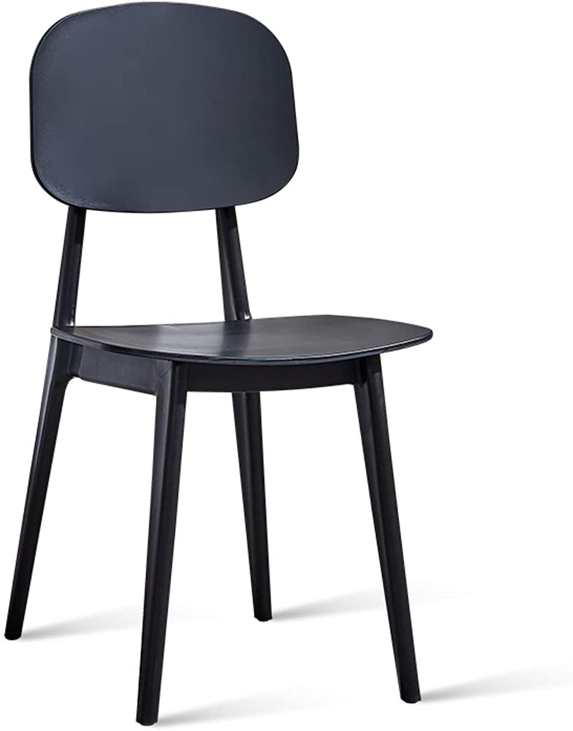 LRW Modern Nordic Dining Chair, Adult Back Chair, Dining Room Stool, Desk Chair, Plastic Leisure Chair, Black