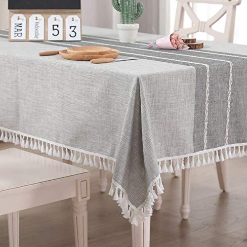 Vekja - Mantel de algodón y lino sin arrugas, resistente al agua, mantel rectangular con borlas, lavable para cocina, comedor, decoración (gris, 140 x 140 cm)