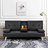 Suwikeke Futon Sofa Faux Leather Couch Bed Modern Convertible Folding Recliner 2 Cup Holders for Living Room-Black