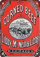 S-RONG雑貨屋 Libby Corned Beef ブリキブリキ 看板レトロ デザイン 20x30cm