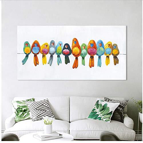 chthsx Wandbilder Leinwandbilder Tierbilder Kunstdrucke Wohnkultur Vögel auf Draht 60x120cm No Frame