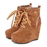 CYBLING Womens High Heel Platform Sneakers Booties Warm Fur Lined Lace up Suede Wedge Ankle Boots Yellow
