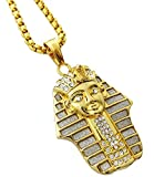 Exo Jewel Egyptian Pharaoh King TUT Stainless Steel Pendant Necklace with 30' Chain (Gold)