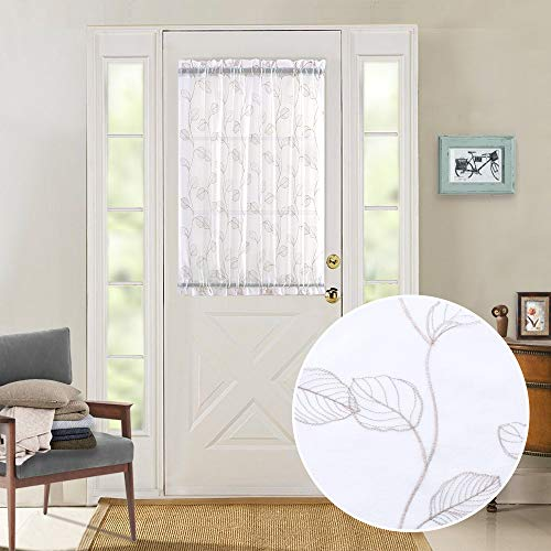 French Door Panel Embroidered Sheer Curtains for Glass Door Botanical Tile Curtain Leaf Geometric Semi-Sheer Drapes 40 inch Beige on White 1 Panel