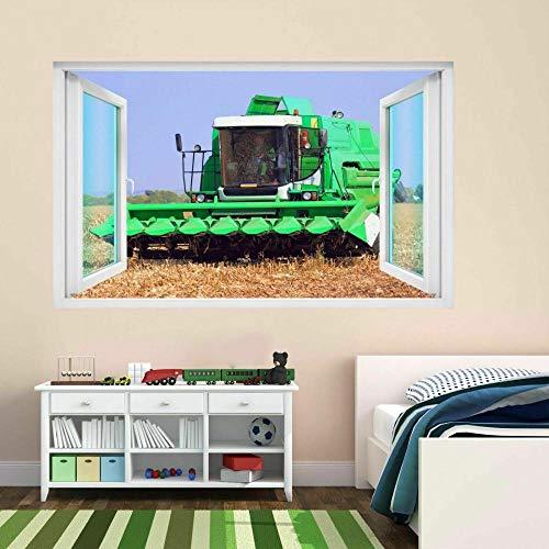DDSYJ Etiqueta de la pared 3d Combine Harvester Farm Machine Crops Field 3D Wall Sticker Mural Decal Kids