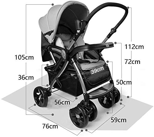 LAMTON Baby Pushchair, Buggy, Pushchairs Two-Way Baby Stroller,Travel System Baby Stroller High Landscape Can Sit and Lie Down to Fold The Child Trolley Baby Carriage Adjustable Pushchair Stroller LAMTON The adjustable 5-point safety harness has comfortable shoulder pads, The sturdy frame has a wider seat which results in a more comfortable ride for your child The stroller can be easily folded, smaller and more portable; the adjustable backrest angle can be seated or lying down, as well as a large shopping basket and caster 1. The body is made of high-quality steel pipe, strong and durable, strong load-bearing, soft pedals, safe and environmentally friendly, will not scratch the baby, strong toughness and durability 4