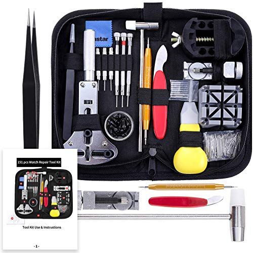 Vastar Watch Repair Kit, Watch Repair Tools Professional Spring Bar Tool Set, Watch Band Link Pin Tool Set with Carrying Case