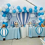 100Pcs Sky Blue White Balloon Garland & Arch Kit-100Pcs Latex Balloons, 16 Feets Arch Balloon Strip for Hot Air Balloon Baby Shower, Elephant Baby Shower Decorations