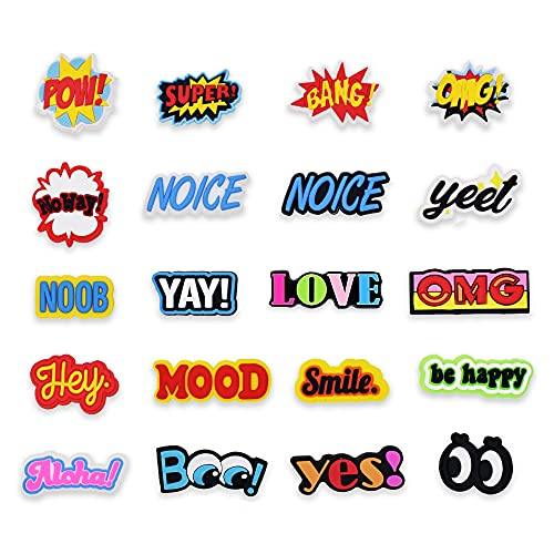 20pcs Cool Lovely Words unisex-adult Shoe Charms Sayings Different Shapes PVC for Shoe Decoration