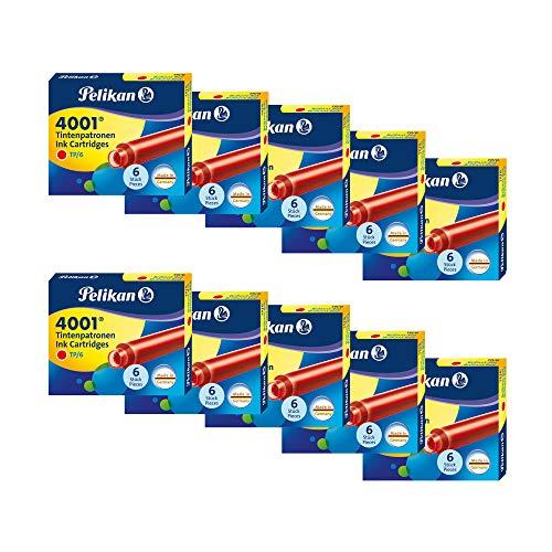 Pelikan Encre 4001 Boîte de 10 Etuis de 6 Cartouche d'encre TP/6 Rouge brillant