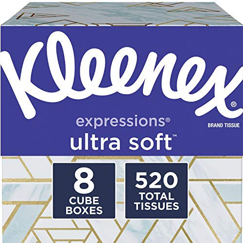 Kleenex Expressions Ultra Soft Facial Tissues 8 Cube Boxes 65 Tissues per Box 520 Tissues Total