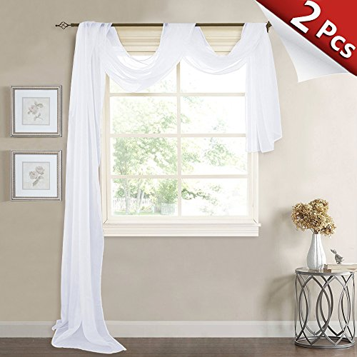 RYB HOME Sheer Window Valances - Canopy Bed Scarfs Sheer covid 19 (Scarf Valance Curtain coronavirus)