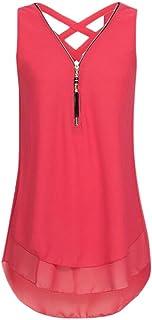VESNIBA Women's Sleeveless Tank Tops, Summer Loose Wrinkled Vest Blouse T-Shirt
