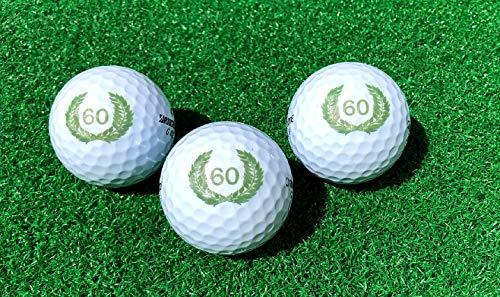 LL-Golf ® 3er Set 60er Geburtstags Golfbälle mit Happy Birthday Motiv in Geschenkbox/Golf Geburtstagsgeschenk/Golfgeschenk