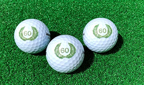 LL-Golf ® 3er Set 60er Geburtstags Golfbälle mit Happy Birthday Motiv in Geschenkbox/Golf Geburtstagsgeschenk/Golfgeschenk