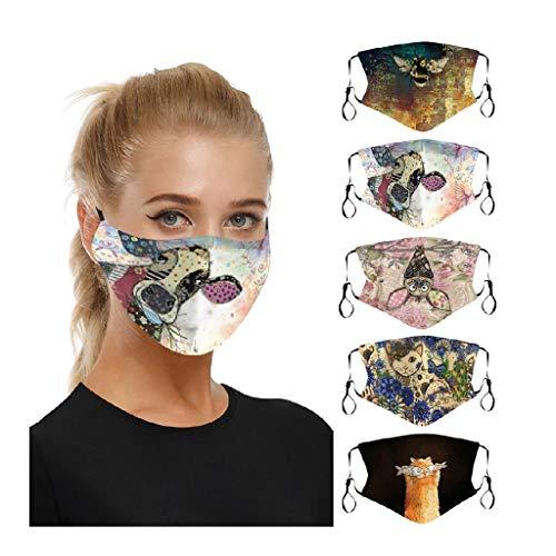 5 Stück Atmungsaktive mundschutz waschbar, Unisex mundschutz baumwolle staubschutz Mundschutz mit motiv mundbedeckung stoff Wiederverwendbare mundschutz zum Laufen, Radfahren