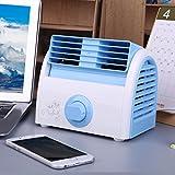 D&LE Mini Escritorio Ventilador, Silencioso Portátil Mesa Aire Acondicionado Ventilador Turbina De Enfriamiento Los 3 Velocidades para Inicio Oficina Estudiante-Azul 19x15cm