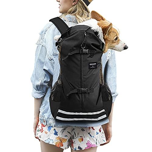 dojeep Pet Carrier Backpack for Dog, Adjustable Pet Front Cat Dog Carrier Backpack Travel Bag, Breathable Mesh Pet Supplies Backpack for Dog Cats (Large, Black)