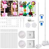 2 Set Balloon Column Kit Base Stand and Pole, 63 inch height with 2 Top Balloon Support Rod, 30Pcs Balloon Rings, 100 Glue Dot, 2 Tying Tool, 2 flower clip for Party Wedding Birthday Xmas Festival