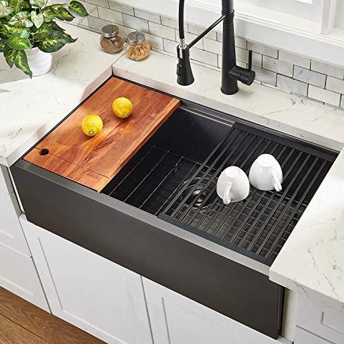 "33"" Workstation Drop In Farmhouse Black Stainless Steel Ledge Kitchen SInk,Undermount Kitchen SInk Single Bowl with Accessories By Hotis"