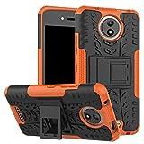 MAMA MOUTH Moto C Hülle, [Heavy Duty] Rugged Armor stoßfest Handy Schutzhülle Silikon Tasche Ständer Hülle Hülle mit Standfunktion für Motorola Moto C Smartphone,Orange