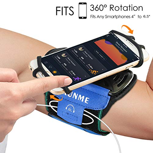 Wristband Phone Holder for Running Universal Sports Armband for 4'-6.5' inch iPhone X iPhone 8 8Plus 7 7 Plus 6 6S Plus 5S Samsung Galaxy S9 S8 S8 Plus S7 Edge Note 8, Google Pixel (Armband Blue)